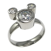 Stainless Steel Finger Ring, with cubic zirconia, original color, 14x12mm, Size:8, 10PCs/Lot, Sold By Lot