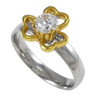 Cubic Zirconia Stainless Steel Finger Ring, Flower, plated, with cubic zirconia & two tone, 10.50mm, US Ring Size:8, Sold By PC