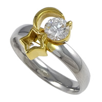 Cubic Zirconia Stainless Steel Finger Ring, plated, with cubic zirconia & two tone, 11.50mm, US Ring Size:7, Sold By PC