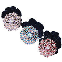 Hair Elastic, Zinc Alloy, with Velveteen, Flower, platinum color plated, with rhinestone, mixed colors, nickel, lead & cadmium free, 58x58mm, 24PCs/Lot, Sold By Lot