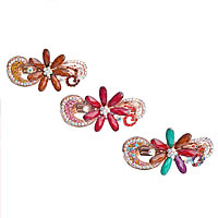 Hair Barrettes, Zinc Alloy, with turquoise, Flower, rose gold color plated, faceted & with rhinestone, mixed colors, nickel, lead & cadmium free, 93x33mm, 12PCs/Lot, Sold By Lot