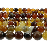 Madagascar Agate Beads, Round, different size for choice, coffee color, Length:Approx 15 Inch, Sold By Lot