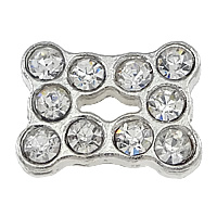 Brass Jewelry Connector, platinum color plated, 3/3 loop & with rhinestone, nickel, lead & cadmium free, 16x12x5mm, Hole:Approx 1.5mm, 200PCs/Lot, Sold By Lot