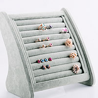 Velveteen Ring Display, with Wood, silver-grey, 245x150x248mm, 2PCs/Lot, Sold By Lot
