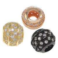 Zirkoon Micro Pave Brass European Kralen, Messing, Drum, plated, micro pave zirconia & zonder troll, meer kleuren voor de keuze, nikkel, lood en cadmium vrij, 10x12mm, Gat:Ca 5mm, 10pC's/Bag, Verkocht door Bag