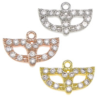 Cubic Zirconia Micro Pave Brass Pendant, Mask, plated, micro pave cubic zirconia, more colors for choice, nickel, lead & cadmium free, 13x8.50x2mm, Hole:Approx 1.3mm, 30PCs/Bag, Sold By Bag