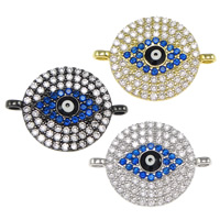Evil Eye Connector, Brass, plated, micro pave cubic zirconia & 1/1 loop, more colors for choice, nickel, lead & cadmium free, 20x15x2.50mm, Hole:Approx 1.5mm, 10PCs/Bag, Sold By Bag