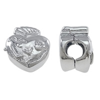 Brass European Clip Heart platinum color plated nickel lead   cadmium free 10x10x8mm Hole:Approx 4mm 100PCs/Lot