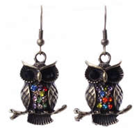 Zinc Alloy Drop Earring, brass earring hook, Owl, antique gold color plated, with rhinestone, nickel, lead & cadmium free, 24mm, Sold By Pair