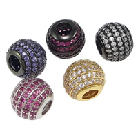 Zirkoon Micro Pave Brass European Kralen, Messing, Drum, plated, micro pave zirconia & zonder troll, meer kleuren voor de keuze, nikkel, lood en cadmium vrij, 10x12x10mm, Gat:Ca 5mm, 10pC's/Bag, Verkocht door Bag