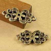 Flower Zinc Alloy Connector, antique bronze color plated, 1/1 loop, nickel, lead & cadmium free, 19x10mm, Hole:Approx 1.5-2.5mm, 200PCs/Bag, Sold By Bag