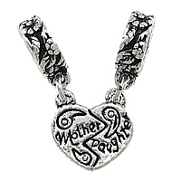 Brass European Pendant, Heart, word mom, antique silver color plated, with letter pattern & double-hole, nickel, lead & cadmium free, 12x12mm,  25mm, Hole:Approx 4.5mm, 100PCs/Lot, Sold By Lot