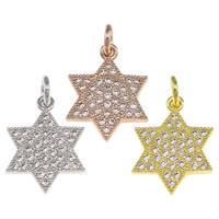 Cubic Zirconia Micro Pave Brass Pendant, Star of David, plated, Jewish  Jewelry & micro pave cubic zirconia, more colors for choice, nickel, lead & cadmium free, 12.50x17x1.50mm, Hole:Approx 2.5mm, 20PCs/Bag, Sold By Bag