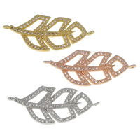 Cubic Zirconia Micro Pave Brass Connector Leaf plated micro pave cubic zirconia   1/1 loop nickel lead   cadmium free 35.50x14x2mm Hole:Approx 1mm 10PCs/Bag