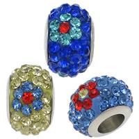 Abalorios Estilo Europeo de Diamantes de Imitación, acero inoxidable, con Arcilla analiar de diamantes de imitación AB, Toroidal, con 70 diamantes de imitación & sin rosca, más colores para la opción, 7.50x12mm, agujero:aproximado 5mm, 50PCs/Grupo, Vendido por Grupo