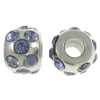 Stainless Steel European Beads, Drum, without troll & with rhinestone, more colors for choice, 12x9mm, Hole:Approx 4.5mm, Sold By PC
