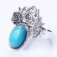 кольца из бирюзы, цинковый сплав, с бирюза & Железо, Форма цветка, плакированный цветом под старое серебро, регулируемый, не содержит никель, свинец, 28x28mm, размер:7.5, 20ПК/сумка, продается сумка