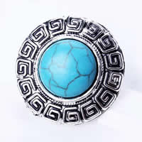 кольца из бирюзы, цинковый сплав, с бирюза & Железо, Плоская круглая форма, плакированный цветом под старое серебро, регулируемый, не содержит никель, свинец, 27mm, размер:7.5, 20ПК/сумка, продается сумка