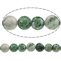 Natural Green Spot Stone Beads, Round, 6mm, Hole:Approx 0.8mm, Length:Approx 15 Inch, 10Strands/Lot, Approx 60PCs/Strand, Sold By Lot