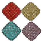 Rhinestone Resin Beads, Rhombus, with rhinestone, more colors for choice, nickel, lead & cadmium free, 18x18x8mm, Hole:Approx 2mm, 100PCs/Lot, Sold By Lot
