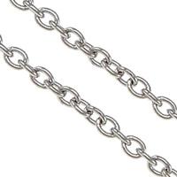 Owalne łańcucha ze stali nierdzewnej, Stal nierdzewna, oryginalny kolor, 2x1.50x0.40mm, 100m/wiele, sprzedane przez wiele