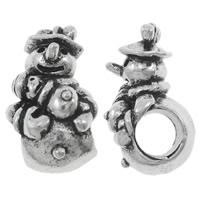 Pandor Kerst Kralen, Zinc Alloy, Sneeuwpop, antiek zilver plated, zonder troll, nikkel, lood en cadmium vrij, 9.50x17x9mm, Gat:Ca 5mm, 10pC's/Bag, Verkocht door Bag