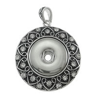 Snap Button Pendant, Zinc Alloy, Flat Round, antique silver color plated, with rhinestone, nickel, lead & cadmium free, 33x44x7mm, Hole:Approx 4x6mm, Sold By PC