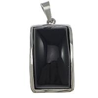 Wisiorki z czarnym agatem, Stal nierdzewna 304, ze Agat czarny, Prostokąt, Naturalne, oryginalny kolor, 17x31x8mm, otwór:około 4x8mm, 10komputery/wiele, sprzedane przez wiele