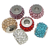 Stainless Steel Jewelry Beads, 304 Stainless Steel, with Rhinestone Clay Pave, Drum, with 64 pcs rhinestone, more colors for choice, 10x14x14mm, Hole:Approx 4mm, 10PCs/Lot, Sold By Lot