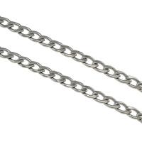 Łańcucha krawężnika ze stali nierdzewnej, Stal nierdzewna, łańcucha krawężnika, oryginalny kolor, 7x5x1mm, 100m/wiele, sprzedane przez wiele