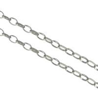 Owalne łańcucha ze stali nierdzewnej, Stal nierdzewna, oryginalny kolor, 4x3x1mm, 100m/wiele, sprzedane przez wiele