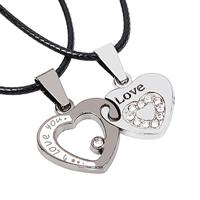 Collares de Pareja, aleación de zinc, con Cuerda de nylon encerado, con 2lnch extender cadena, Corazón, palabra amor, chapado, para la pareja  esmalte