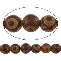 Natural Tibetan Agate Dzi Beads, Round, two tone, 12mm, Hole:Approx 1mm, Length:Approx 14.5 Inch, 5Strands/Lot, Approx 32PCs/Strand, Sold By Lot