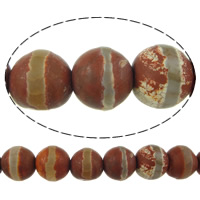 Natural Tibetan Agate Dzi Beads, Round, two tone, 8mm, Hole:Approx 1mm, Length:Approx 14.5 Inch, 10Strands/Lot, Approx 47/Strand, Sold By Lot