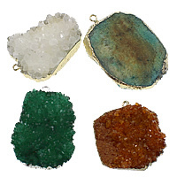 Ice Quartz Agate Pendant, with Brass, Nuggets, plated, mixed colors, nickel, lead & cadmium free, 37-40x45-61x13-20mm, Hole:Approx 3mm, 10PCs/Lot, Sold By Lot