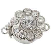 Zinc Alloy Box Clasp, Flower, platinum color plated, with rhinestone & single-strand, nickel, lead & cadmium free, 17x12x8mm, Hole:Approx 1mm, 10PCs/Bag, Sold By Bag