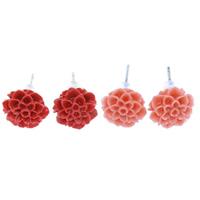 Синтетический коралл Сережка-гвоздик, с Пластиковые вилки для ухи, латунь гвоздик, Форма цветка, слоенная, Много цветов для выбора, 10x6mm, 36Пары/Лот, продается Лот