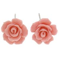 Синтетический коралл Сережка-гвоздик, с Пластиковые вилки для ухи, латунь гвоздик, Форма цветка, слоенная, розовый, 13x6mm, 12Пары/Лот, продается Лот