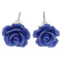 Синтетический коралл Сережка-гвоздик, с Пластиковые вилки для ухи, латунь гвоздик, Форма цветка, слоенная, голубой, 10x6mm, 24Пары/Лот, продается Лот