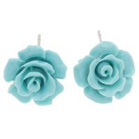 Синтетический коралл Сережка-гвоздик, с Пластиковые вилки для ухи, латунь гвоздик, Форма цветка, слоенная, светло-синий, 13x8mm, 24Пары/Лот, продается Лот