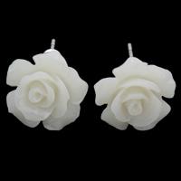 Синтетический коралл Сережка-гвоздик, латунь гвоздик, Форма цветка, слоенная, белый, 12x7mm, 24Пары/Лот, продается Лот