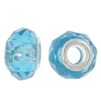 European Crystal Beads, Rondelle, sterling silver double core without troll, Aquamarine, 14x9mm, Hole:Approx 5mm, 20PCs/Bag, Sold By Bag