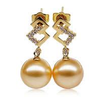 Золотой South Sea Pearl Сережка, с Алмазный & Латунь, Круглая, натуральный, Золотой, 10-11mm, продается Пара