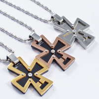 Titanium Steel Pendants, Cross, plated, with rhinestone, more colors for choice, 30x40mm, Hole:Approx 4x7mm, 3PCs/Lot, Sold By Lot
