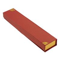 Kartonowe pudełko na naszyjnik, Tektura, Prostokąt, złoty akcent, czerwony, 43x200x23mm, 50komputery/wiele, sprzedane przez wiele