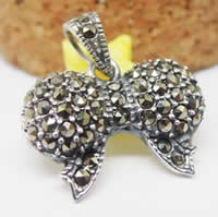 Thailand Sterling Silver Pendants, Bowknot, with rhinestone, 18x11mm, Hole:Approx 3-5mm, 2PCs/Bag, Sold By Bag