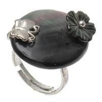 кольцо из ракушки, Латунь, с Черная ракушка, Овальная форма, Платиновое покрытие платиновым цвет, регулируемый, не содержит никель, свинец, 22x25x29mm, отверстие:Приблизительно 1mm, размер:6.5, 10ПК/сумка, продается сумка
