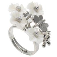 кольцо из ракушки, Латунь, с Белая ракушка, Форма цветка, Платиновое покрытие платиновым цвет, регулируемый & со стразами, не содержит никель, свинец, 30x26x33mm, отверстие:Приблизительно 1mm, размер:7.5, 10ПК/сумка, продается сумка