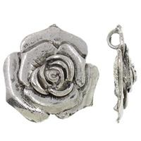 Wisior ze stopu cyku w kształcie kwiatu, Stop cynku, Platerowane kolorem starego srebra, bez zawartości niklu, ołowiu i kadmu, 49x52x23mm, otwór:około 7mm, sprzedane przez PC