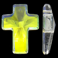 Crystal Pendants, Cross, colorful plated, faceted, 30x40x11mm, Hole:Approx 2mm, 5PCs/Bag, Sold By Bag